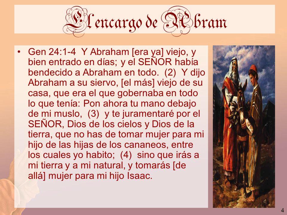 4 El encargo de Abram Gen 24:1-4 Y Abraham [era ya] viejo, y bien entrado en días; y el SEÑOR había bendecido a Abraham en todo. (2) Y dijo Abraham a