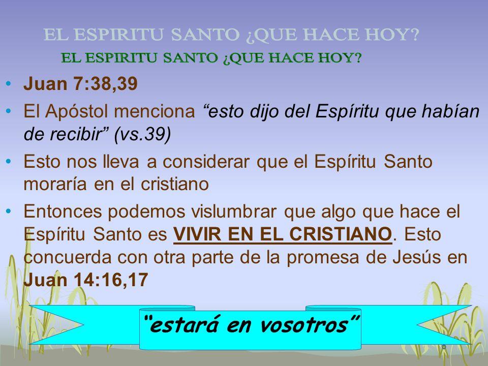 6 Juan 7:38,39 El Apóstol menciona esto dijo del Espíritu que habían de recibir (vs.39) Esto nos lleva a considerar que el Espíritu Santo moraría en e