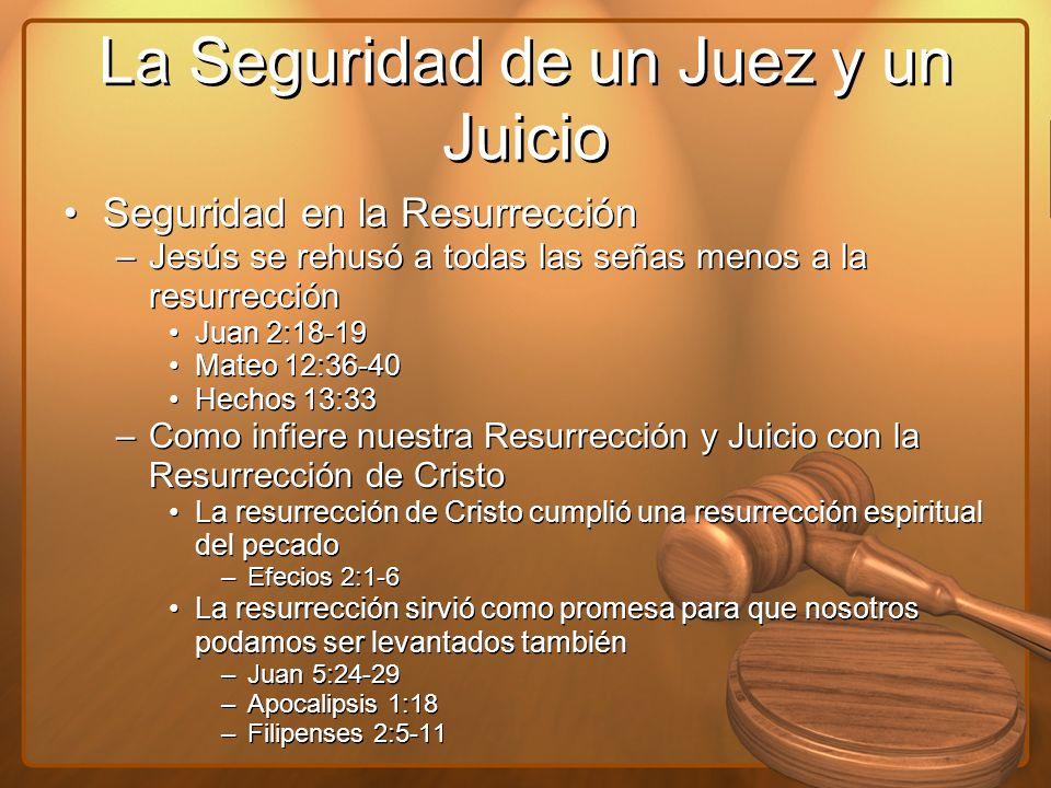 La Seguridad de un Juez y un Juicio Seguridad en la Resurrección –Jesús se rehusó a todas las señas menos a la resurrección Juan 2:18-19 Mateo 12:36-4