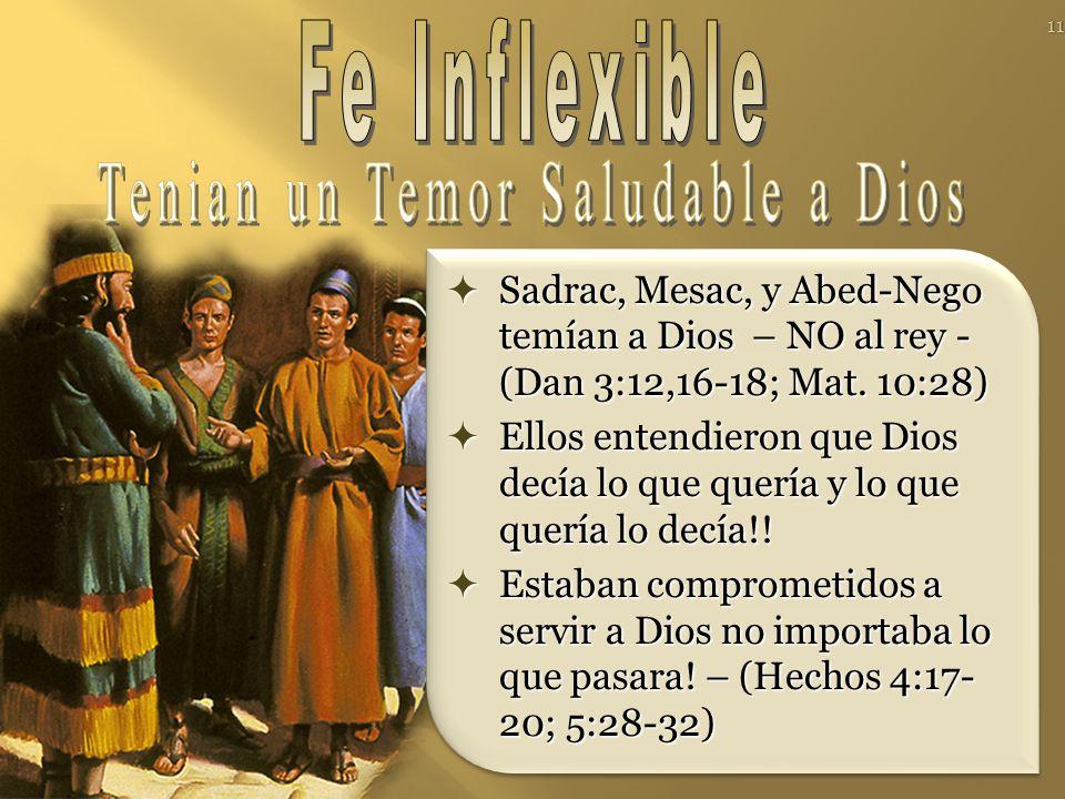 Sadrac, Mesac, y Abed-Nego temían a Dios – NO al rey - (Dan 3:12,16-18; Mat. 10:28) Sadrac, Mesac, y Abed-Nego temían a Dios – NO al rey - (Dan 3:12,1