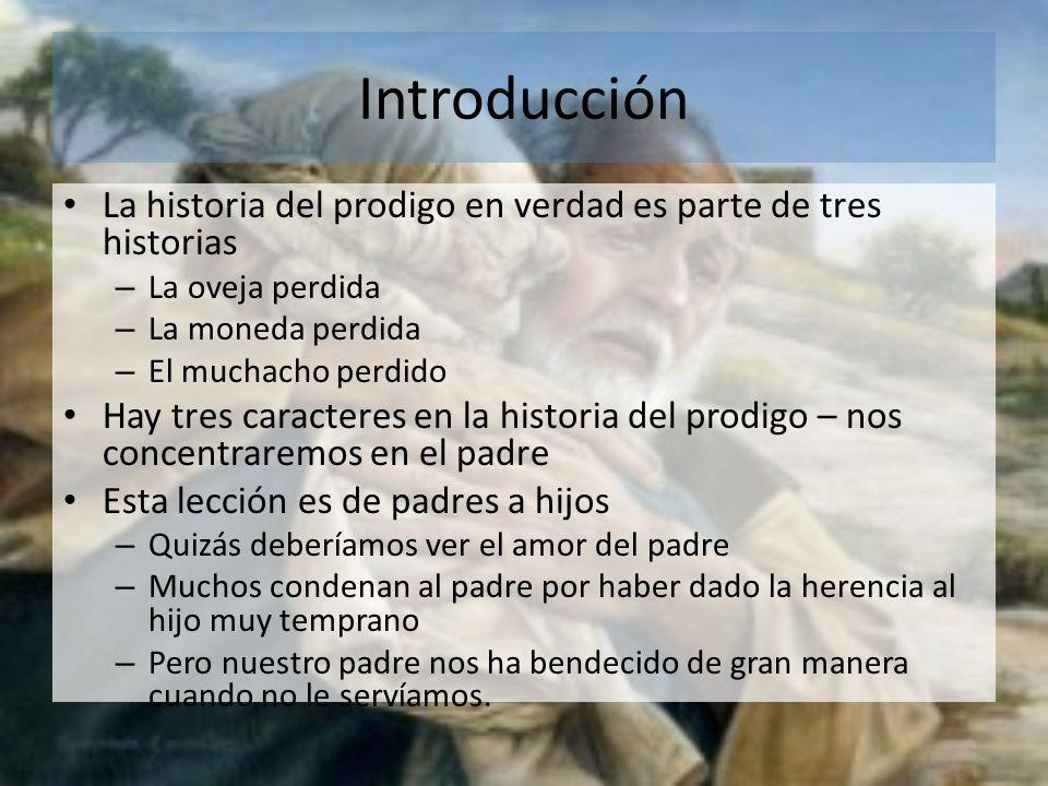 Introducción La historia del prodigo en verdad es parte de tres historias – La oveja perdida – La moneda perdida – El muchacho perdido Hay tres caract