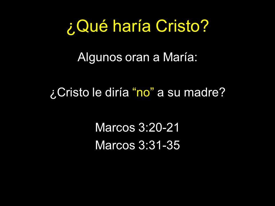 ¿Qué haría Cristo? Algunos oran a María: ¿Cristo le diría no a su madre? Marcos 3:20-21 Marcos 3:31-35
