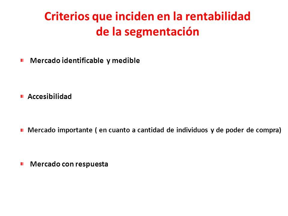 Criterios que inciden en la rentabilidad de la segmentación Mercado identificable y medible Accesibilidad Mercado importante ( en cuanto a cantidad de
