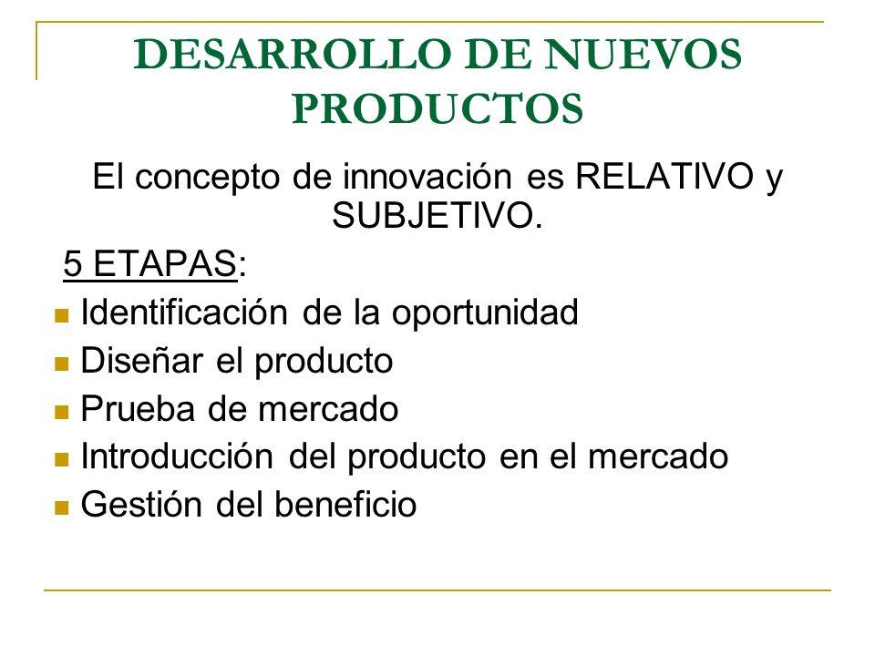 DESARROLLO DE NUEVOS PRODUCTOS El concepto de innovación es RELATIVO y SUBJETIVO. 5 ETAPAS: Identificación de la oportunidad Diseñar el producto Prueb
