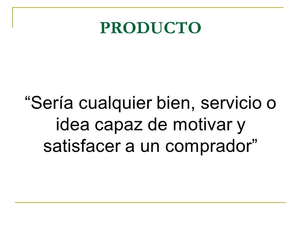 PRODUCTO Sería cualquier bien, servicio o idea capaz de motivar y satisfacer a un comprador