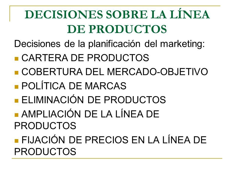 DECISIONES SOBRE LA LÍNEA DE PRODUCTOS Decisiones de la planificación del marketing: CARTERA DE PRODUCTOS COBERTURA DEL MERCADO-OBJETIVO POLÍTICA DE M