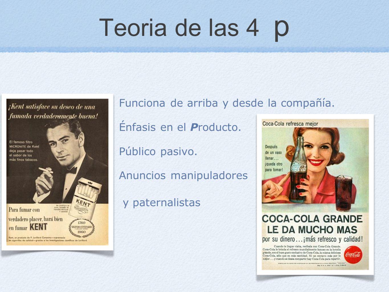 Teoria de las 4 p Funciona de arriba y desde la compañía. Énfasis en el Producto. Público pasivo. Anuncios manipuladores y paternalistas