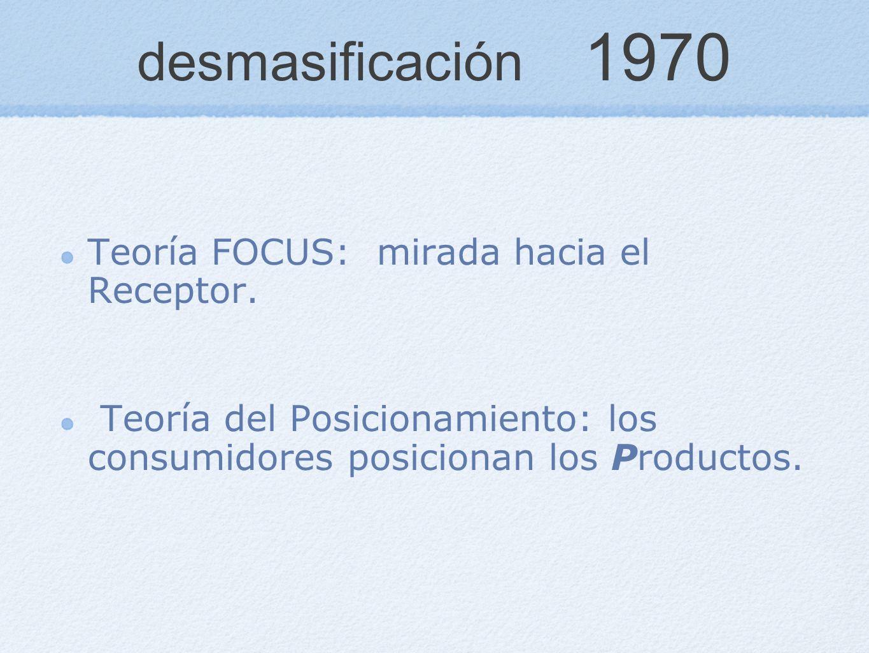 desmasificación 1970 Teoría FOCUS: mirada hacia el Receptor. Teoría del Posicionamiento: los consumidores posicionan los Productos.