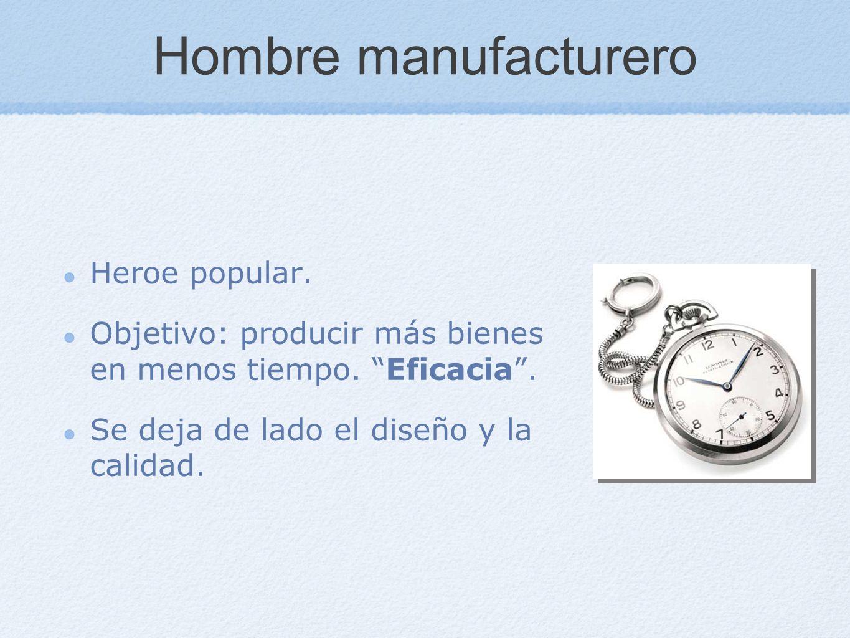 Hombre manufacturero Heroe popular. Objetivo: producir más bienes en menos tiempo. Eficacia. Se deja de lado el diseño y la calidad.