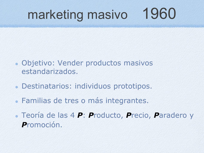 marketing masivo 1960 Objetivo: Vender productos masivos estandarizados. Destinatarios: individuos prototipos. Familias de tres o más integrantes. Teo
