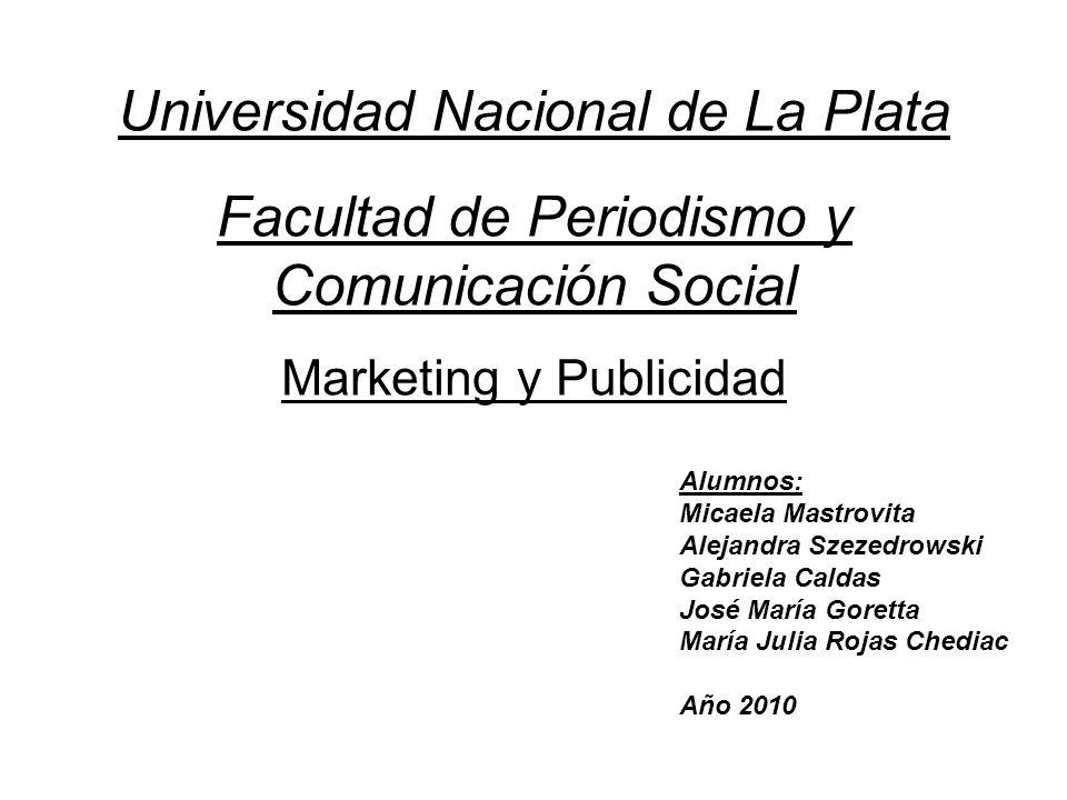 Universidad Nacional de La Plata Facultad de Periodismo y Comunicación Social Marketing y Publicidad Alumnos: Micaela Mastrovita Alejandra Szezedrowsk