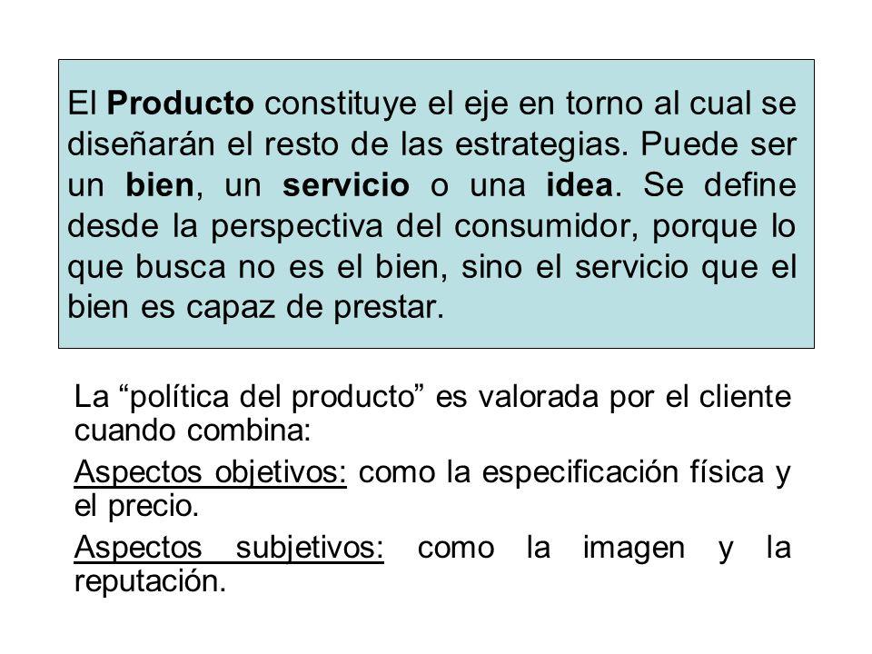 El Producto constituye el eje en torno al cual se diseñarán el resto de las estrategias. Puede ser un bien, un servicio o una idea. Se define desde la