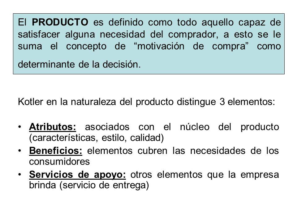 El PRODUCTO es definido como todo aquello capaz de satisfacer alguna necesidad del comprador, a esto se le suma el concepto de motivación de compra co