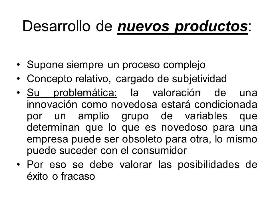 Desarrollo de nuevos productos: Supone siempre un proceso complejo Concepto relativo, cargado de subjetividad Su problemática: la valoración de una in