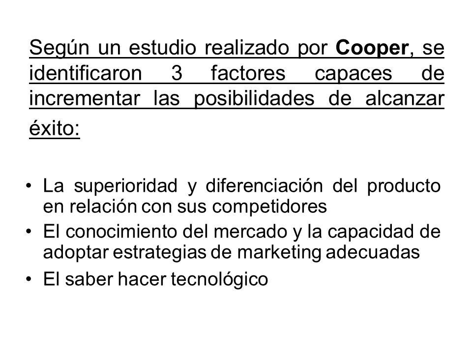 Según un estudio realizado por Cooper, se identificaron 3 factores capaces de incrementar las posibilidades de alcanzar éxito: La superioridad y difer