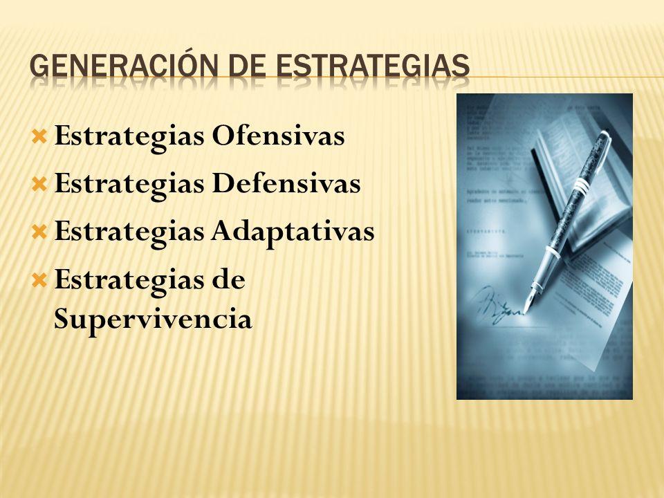 Estrategias Ofensivas Estrategias Defensivas Estrategias Adaptativas Estrategias de Supervivencia