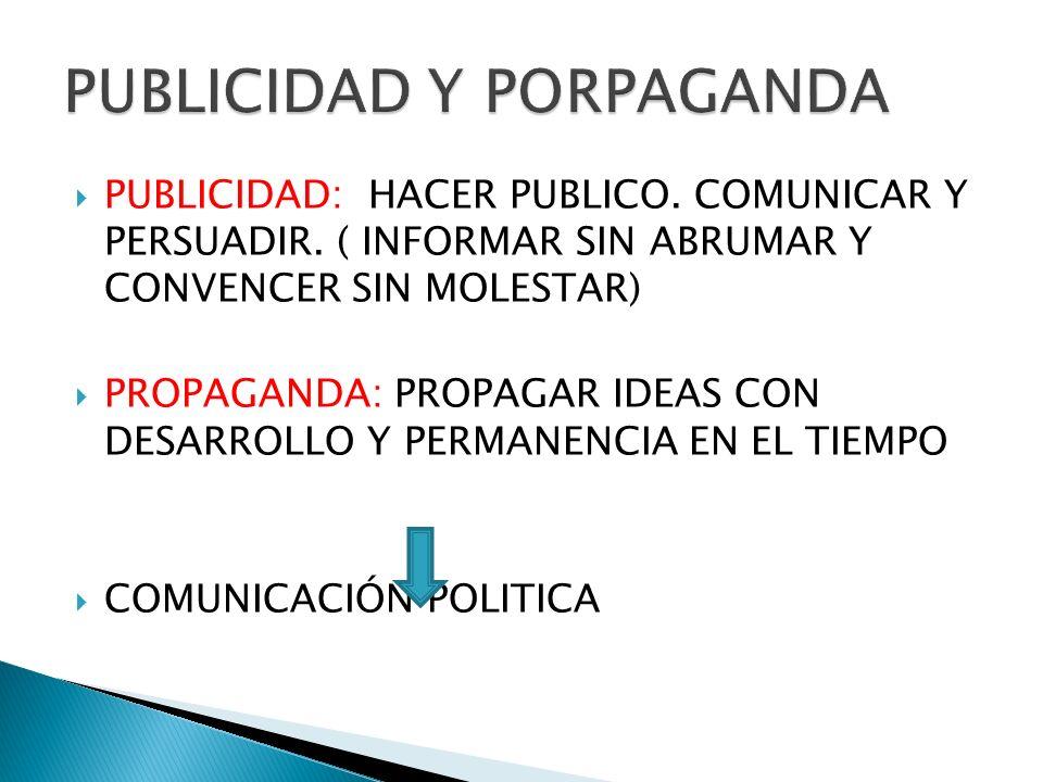 PUBLICIDAD: HACER PUBLICO. COMUNICAR Y PERSUADIR. ( INFORMAR SIN ABRUMAR Y CONVENCER SIN MOLESTAR) PROPAGANDA: PROPAGAR IDEAS CON DESARROLLO Y PERMANE