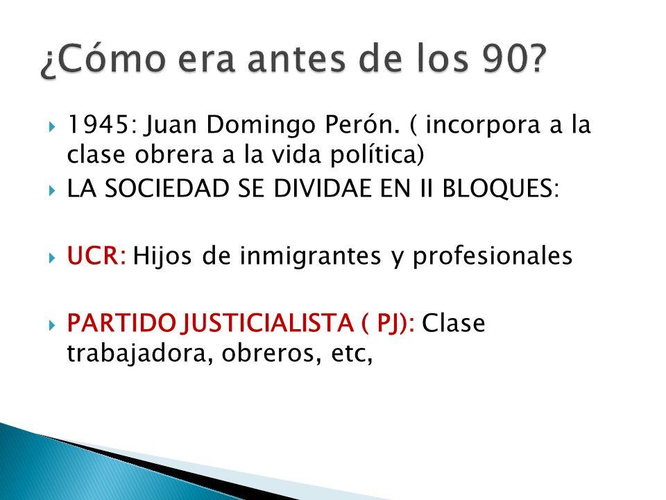 1945: Juan Domingo Perón. ( incorpora a la clase obrera a la vida política) LA SOCIEDAD SE DIVIDAE EN II BLOQUES: UCR: Hijos de inmigrantes y profesio
