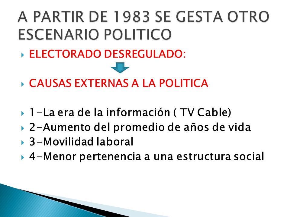 ELECTORADO DESREGULADO: CAUSAS EXTERNAS A LA POLITICA 1-La era de la información ( TV Cable) 2-Aumento del promedio de años de vida 3-Movilidad labora