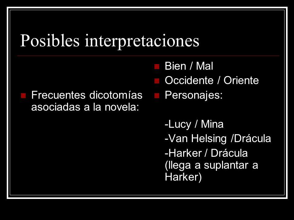 Posibles interpretaciones Frecuentes dicotomías asociadas a la novela: Bien / Mal Occidente / Oriente Personajes: -Lucy / Mina -Van Helsing /Drácula -