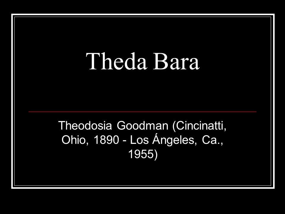 http://www.filmoguia.com/mostrar/?context=BARATHEDA Theodosia Goodman de Cincinatti se convirtió en Theda Bara (anagrama de Arab Death), nacida en las orillas del Nilo, fruto de la unión entre un artista francés y una princesa árabe, investida de poderes ocultos, y causante del suicidio de muchos hombres de mundo.