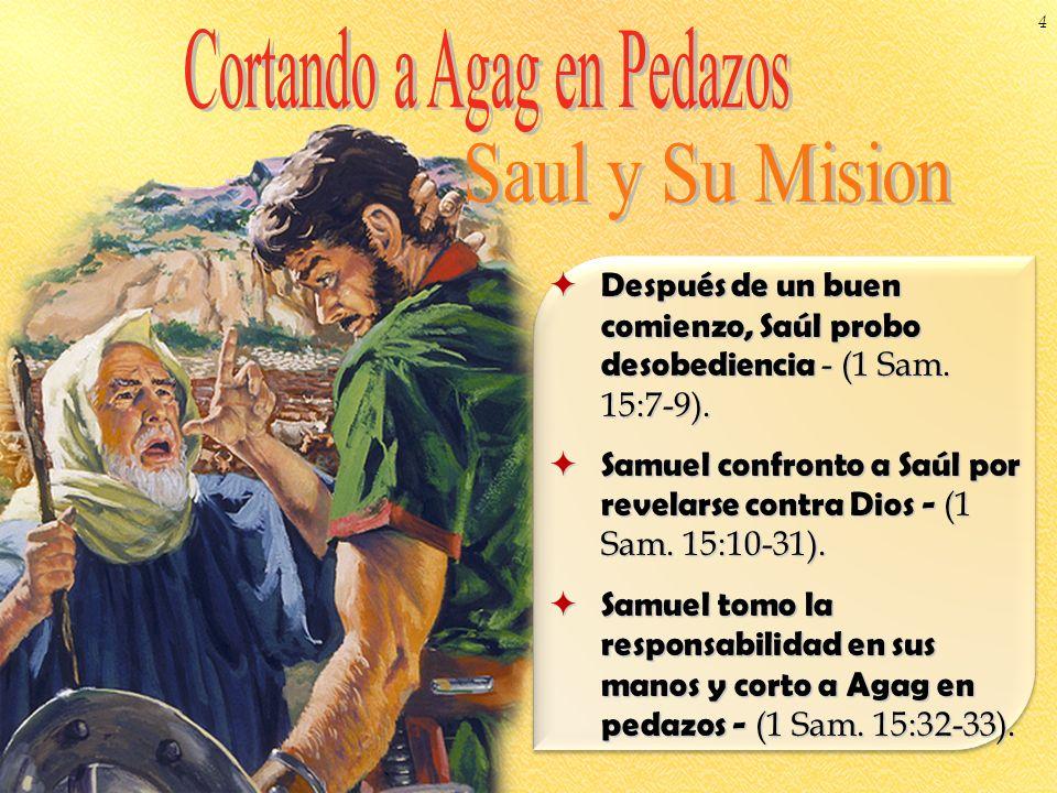 Después de un buen comienzo, Saúl probo desobediencia - (1 Sam. 15:7-9). Después de un buen comienzo, Saúl probo desobediencia - (1 Sam. 15:7-9). Samu