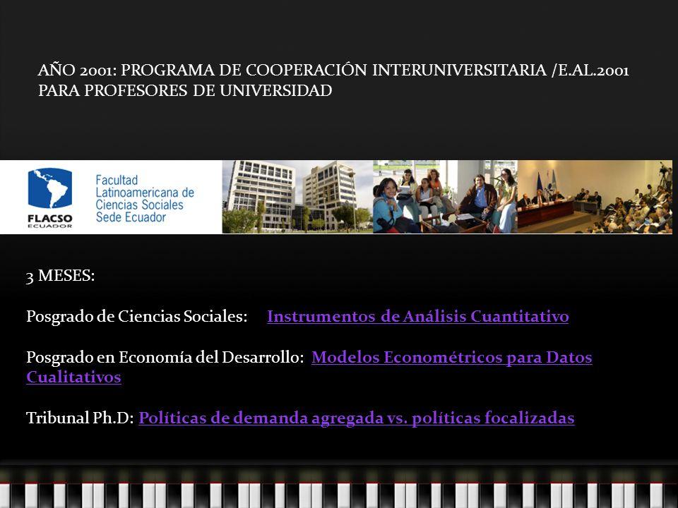 AÑO 2001: PROGRAMA DE COOPERACIÓN INTERUNIVERSITARIA /E.AL.2001 PARA PROFESORES DE UNIVERSIDAD 3 MESES: Posgrado de Ciencias Sociales: Instrumentos de