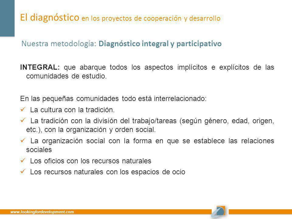 www.lookingfordevelopment.com El diagnóstico en los proyectos de cooperación y desarrollo Nuestra metodología: Diagnóstico integral y participativo IN