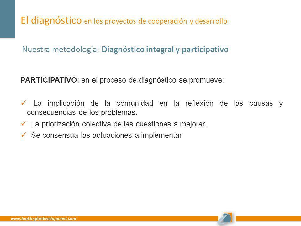 www.lookingfordevelopment.com El diagnóstico en los proyectos de cooperación y desarrollo Nuestra metodología: Diagnóstico integral y participativo PA