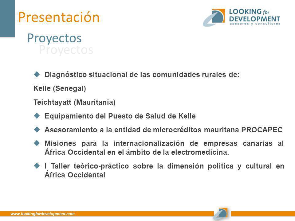 www.lookingfordevelopment.com Presentación Proyectos Proyectos Diagnóstico situacional de las comunidades rurales de: Kelle (Senegal) Teichtayatt (Mau