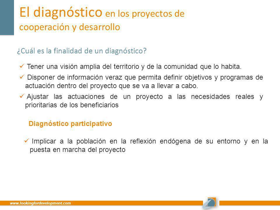 www.lookingfordevelopment.com El diagnóstico en los proyectos de cooperación y desarrollo ¿Cuál es la finalidad de un diagnóstico? Tener una visión am