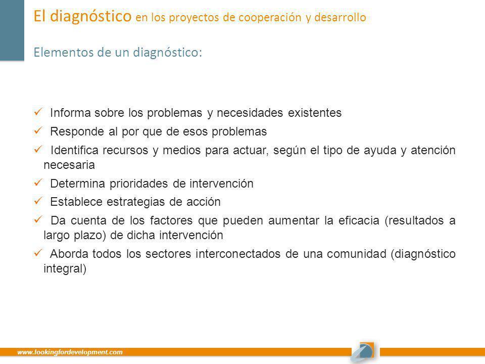 www.lookingfordevelopment.com El diagnóstico en los proyectos de cooperación y desarrollo Elementos de un diagnóstico: Informa sobre los problemas y n