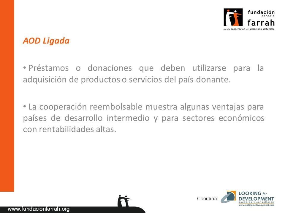www.fundacionfarrah.org AOD Ligada Préstamos o donaciones que deben utilizarse para la adquisición de productos o servicios del país donante.