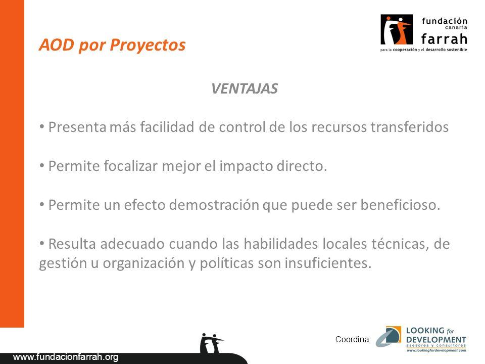 www.fundacionfarrah.org AOD por Proyectos VENTAJAS Presenta más facilidad de control de los recursos transferidos Permite focalizar mejor el impacto directo.