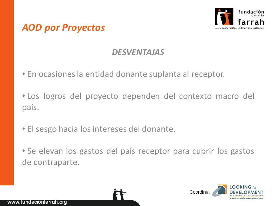 www.fundacionfarrah.org AOD por Proyectos DESVENTAJAS En ocasiones la entidad donante suplanta al receptor.