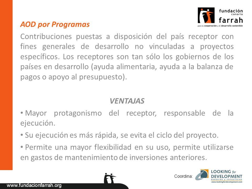 www.fundacionfarrah.org AOD por Programas Contribuciones puestas a disposición del país receptor con fines generales de desarrollo no vinculadas a proyectos específicos.
