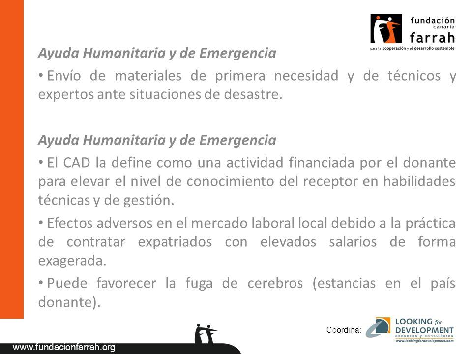 www.fundacionfarrah.org Ayuda Humanitaria y de Emergencia Envío de materiales de primera necesidad y de técnicos y expertos ante situaciones de desastre.