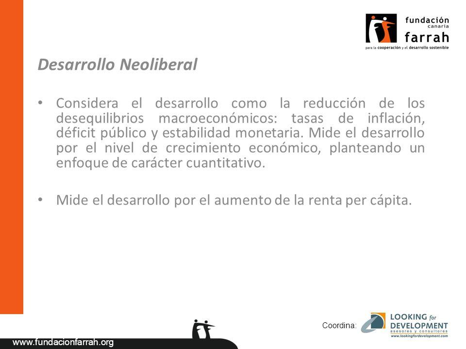 www.fundacionfarrah.org Desarrollo Neoliberal Considera el desarrollo como la reducción de los desequilibrios macroeconómicos: tasas de inflación, déficit público y estabilidad monetaria.