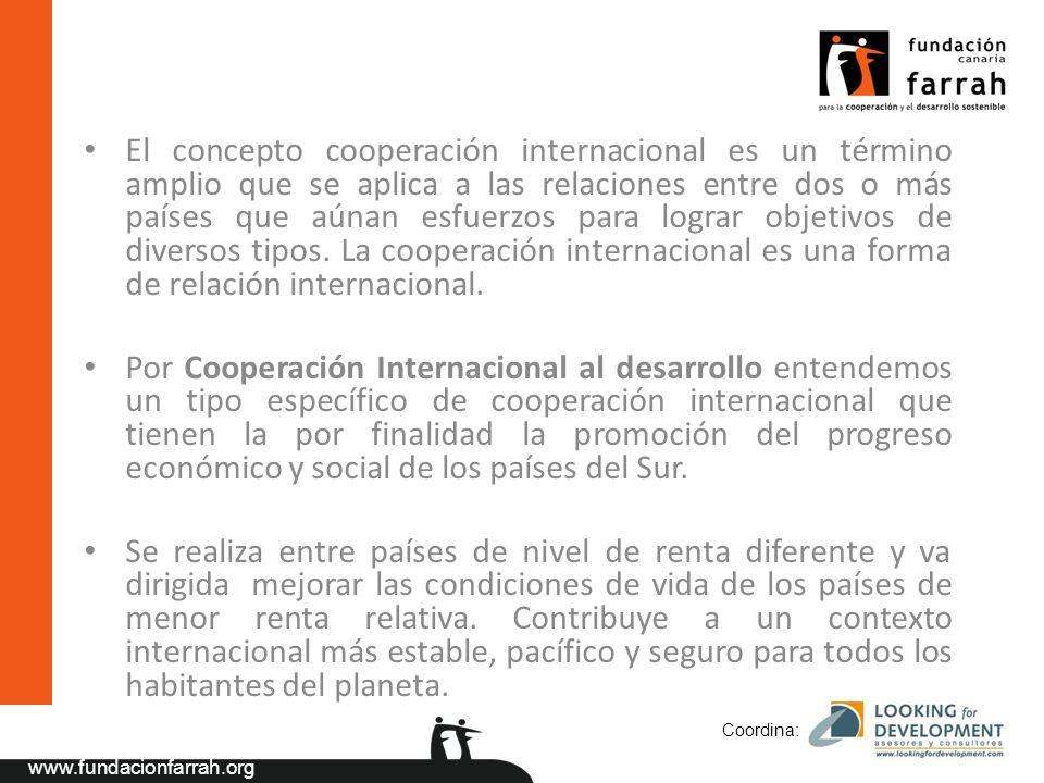 www.fundacionfarrah.org El concepto cooperación internacional es un término amplio que se aplica a las relaciones entre dos o más países que aúnan esfuerzos para lograr objetivos de diversos tipos.