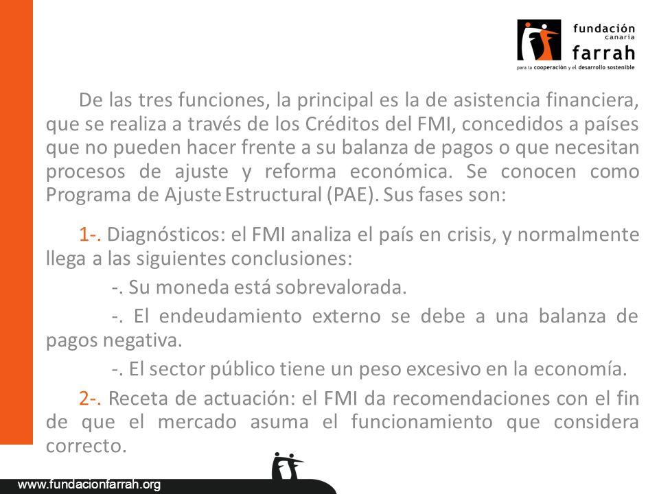 www.fundacionfarrah.org De las tres funciones, la principal es la de asistencia financiera, que se realiza a través de los Créditos del FMI, concedido