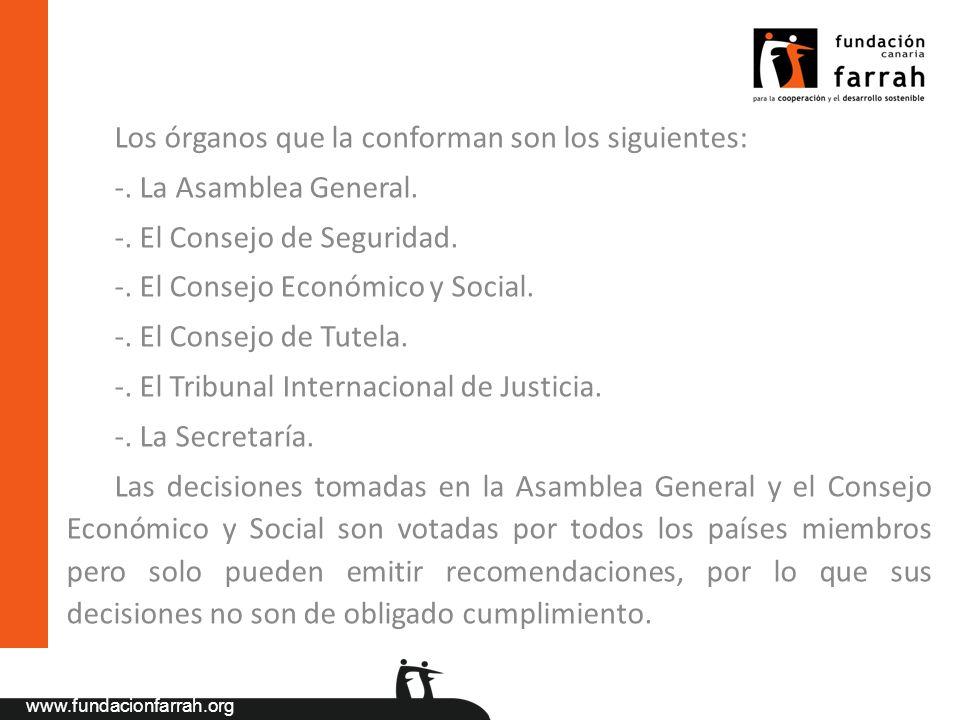 www.fundacionfarrah.org Los órganos que la conforman son los siguientes: -. La Asamblea General. -. El Consejo de Seguridad. -. El Consejo Económico y