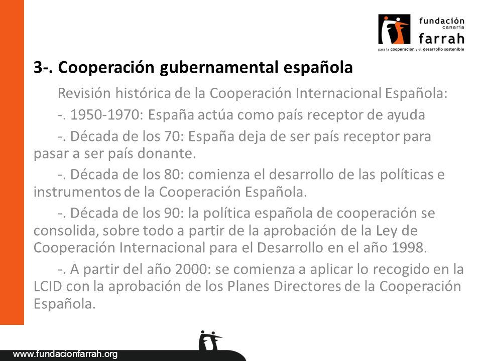 www.fundacionfarrah.org 3-. Cooperación gubernamental española Revisión histórica de la Cooperación Internacional Española: -. 1950-1970: España actúa