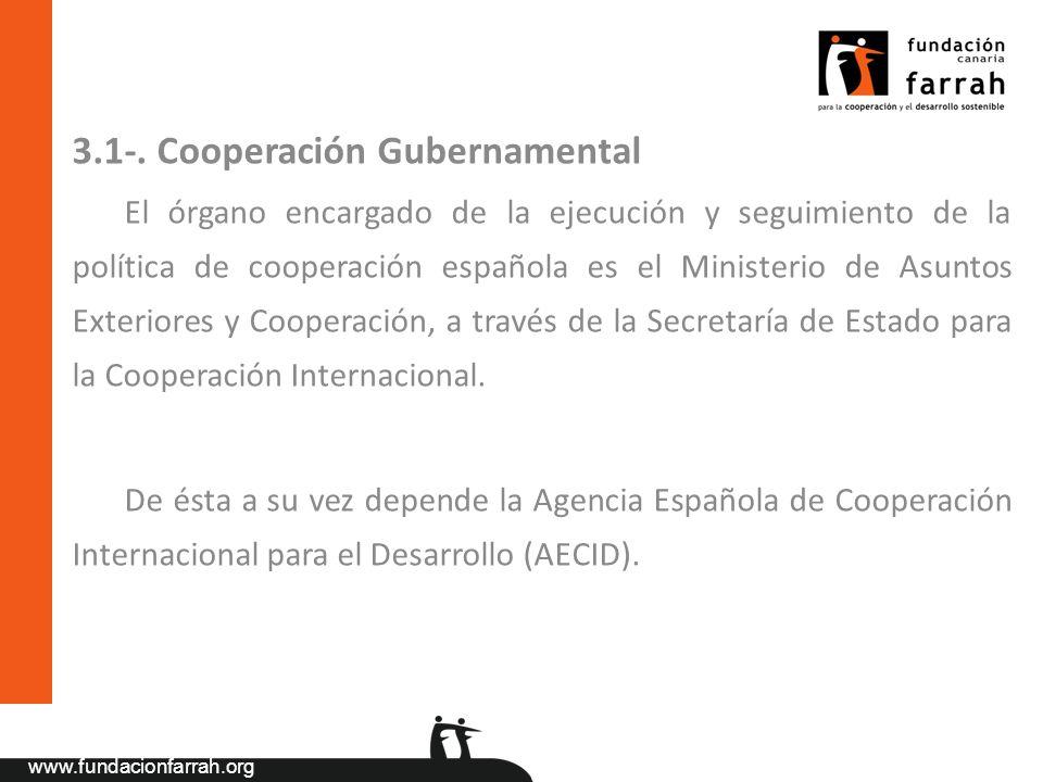 www.fundacionfarrah.org 3.1-. Cooperación Gubernamental El órgano encargado de la ejecución y seguimiento de la política de cooperación española es el