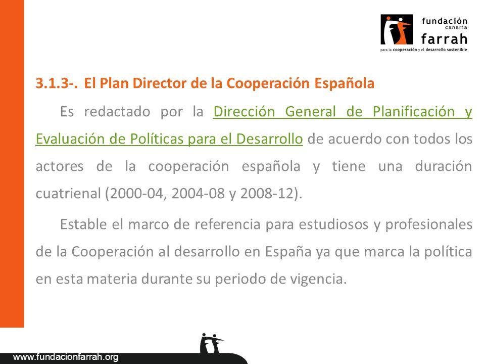 www.fundacionfarrah.org 3.1.3-. El Plan Director de la Cooperación Española Es redactado por la Dirección General de Planificación y Evaluación de Pol