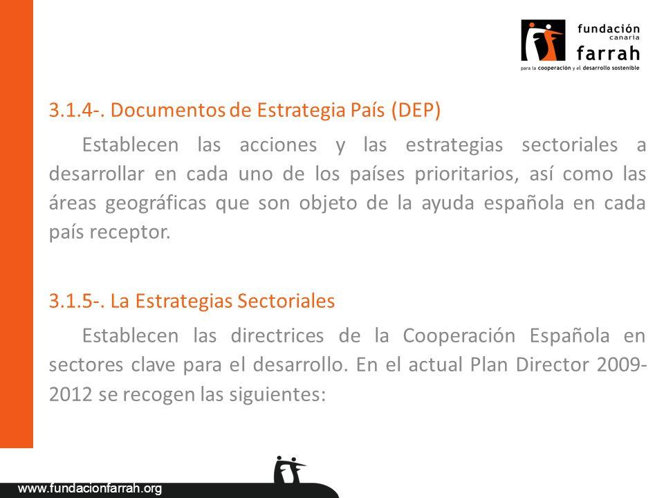 www.fundacionfarrah.org 3.1.4-. Documentos de Estrategia País (DEP) Establecen las acciones y las estrategias sectoriales a desarrollar en cada uno de