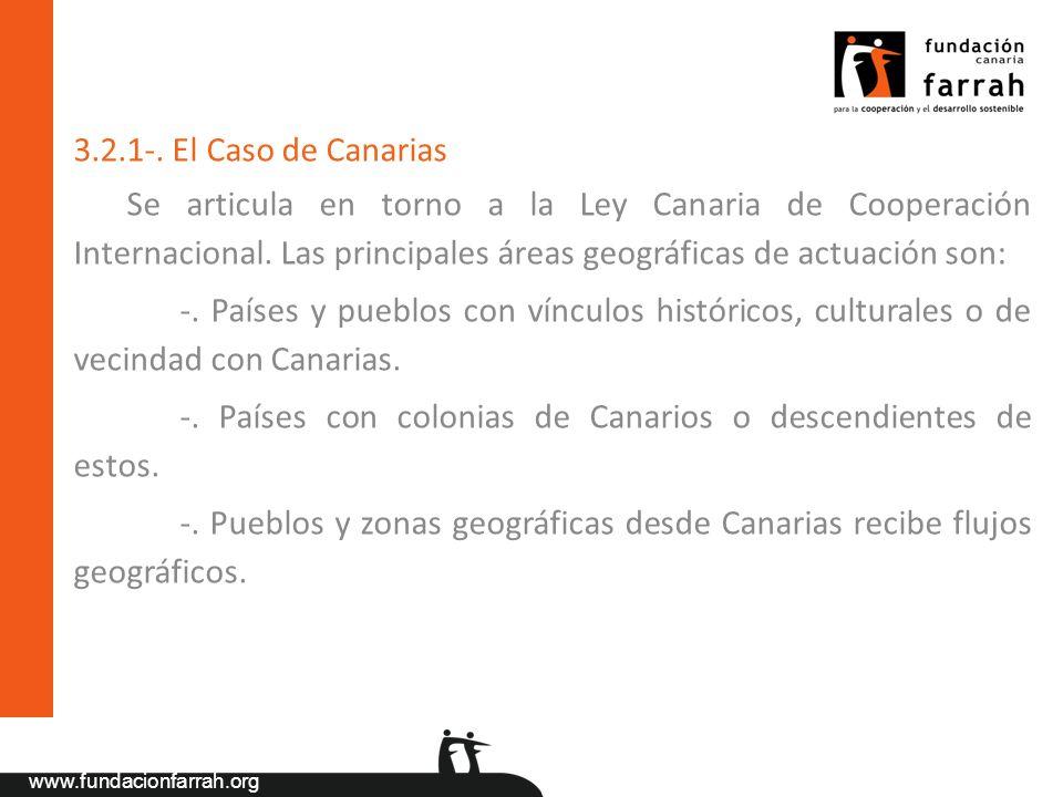 www.fundacionfarrah.org 3.2.1-. El Caso de Canarias Se articula en torno a la Ley Canaria de Cooperación Internacional. Las principales áreas geográfi