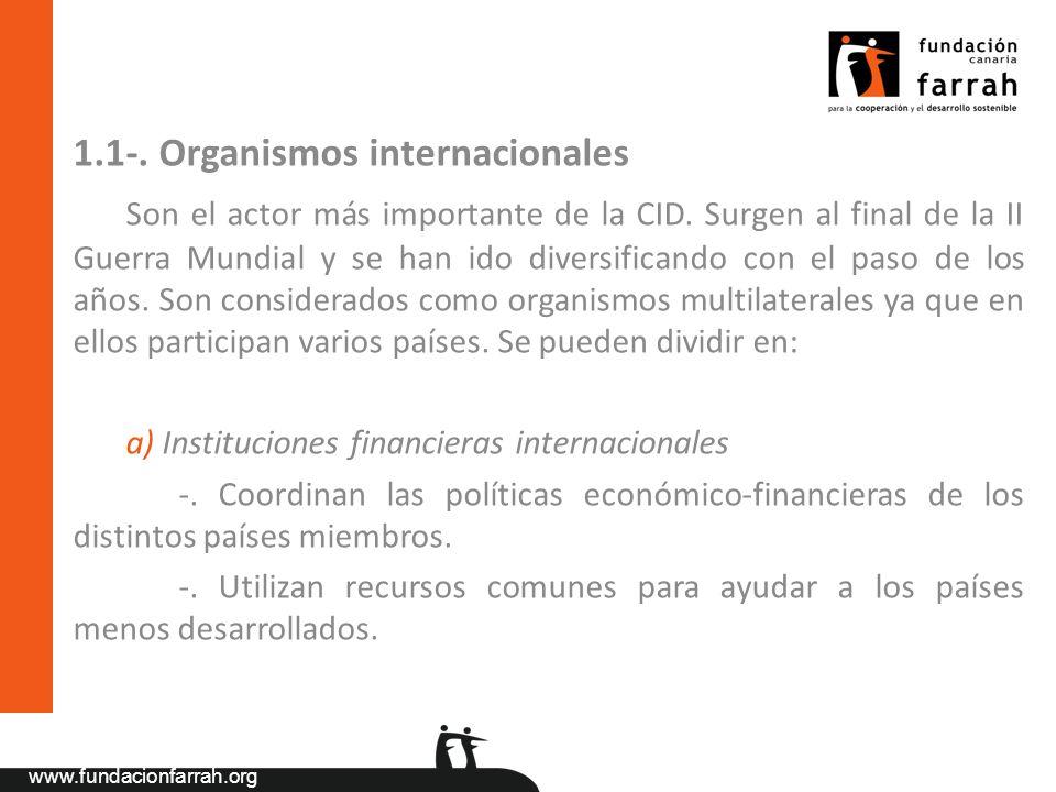 www.fundacionfarrah.org 1.1-. Organismos internacionales Son el actor más importante de la CID. Surgen al final de la II Guerra Mundial y se han ido d