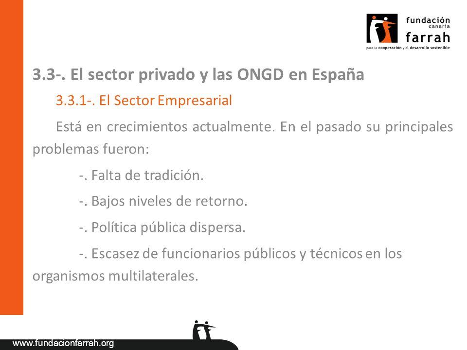 www.fundacionfarrah.org 3.3-. El sector privado y las ONGD en España 3.3.1-. El Sector Empresarial Está en crecimientos actualmente. En el pasado su p