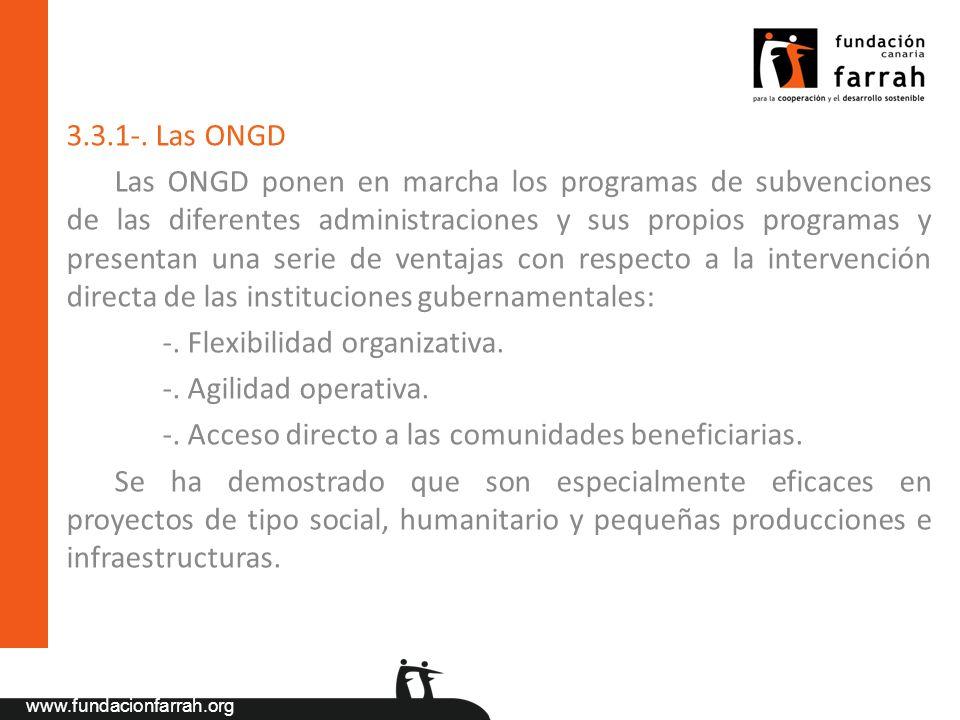 www.fundacionfarrah.org 3.3.1-. Las ONGD Las ONGD ponen en marcha los programas de subvenciones de las diferentes administraciones y sus propios progr