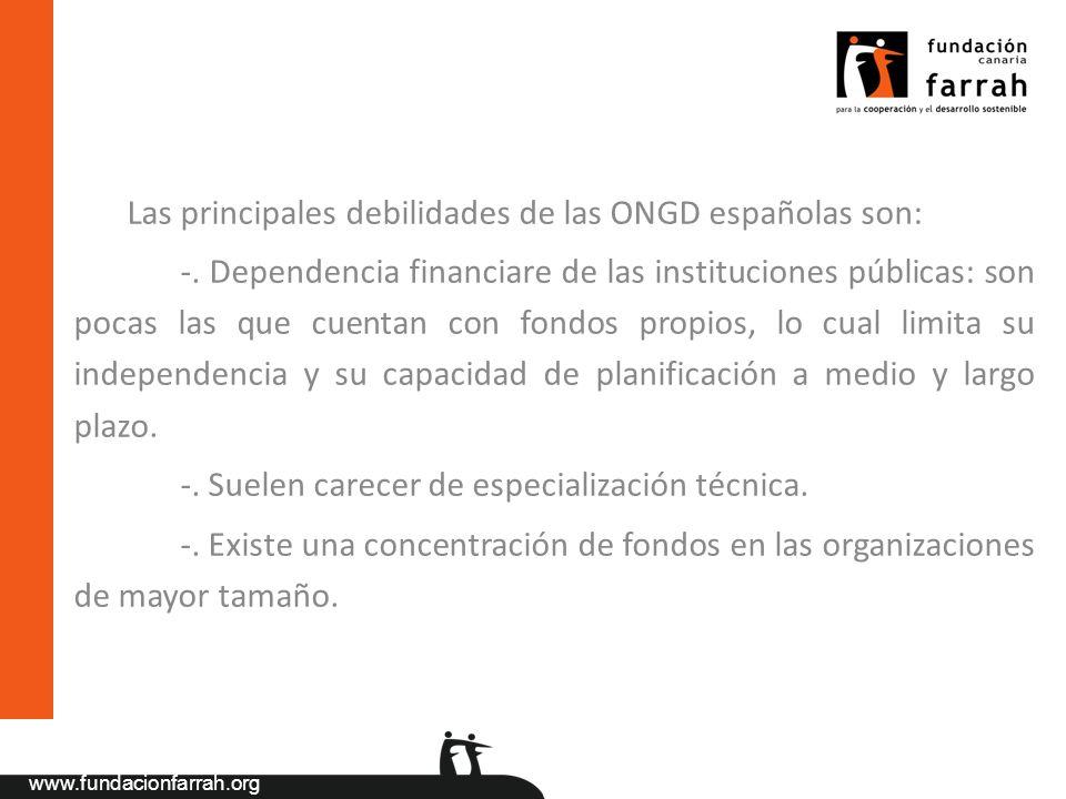 www.fundacionfarrah.org Las principales debilidades de las ONGD españolas son: -. Dependencia financiare de las instituciones públicas: son pocas las